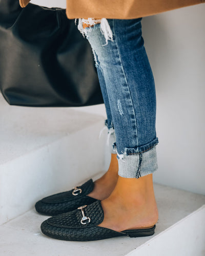 Noteworthy Woven Loafer Mule - Black