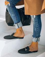 Noteworthy Woven Loafer Mule - Black view 7