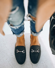 Noteworthy Woven Loafer Mule - Black view 1