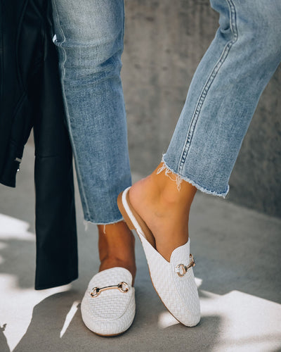 Noteworthy Woven Loafer Mule - White