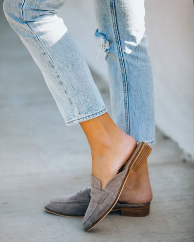 Jules Faux Suede Loafer Mule - Grey