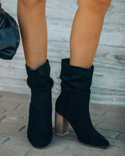 Darby Heeled Slouch Bootie - Black