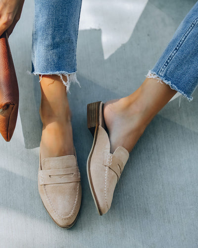 Jules Faux Suede Loafer Mule - Taupe