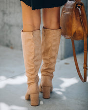 Feminine Faux Suede Heeled Boot