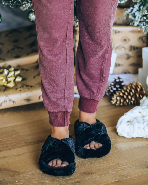 Wren Faux Fur Slipper - Black