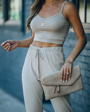 Sweet Release Ribbed Crop Knit Tank - Taupe