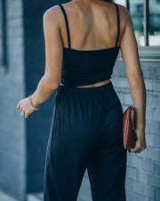 Sweet Release Ribbed Crop Knit Tank - Black view 2