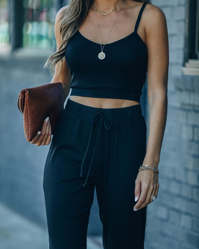 Sweet Release Ribbed Crop Knit Tank - Black