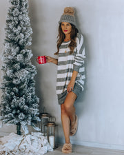 Inclusive Pocketed Striped Knit Sweater Dress