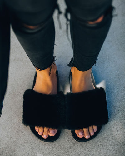 Calvin Faux Fur Slide Sandal - Black