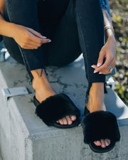 Calvin Faux Fur Slide Sandal - Black view 7
