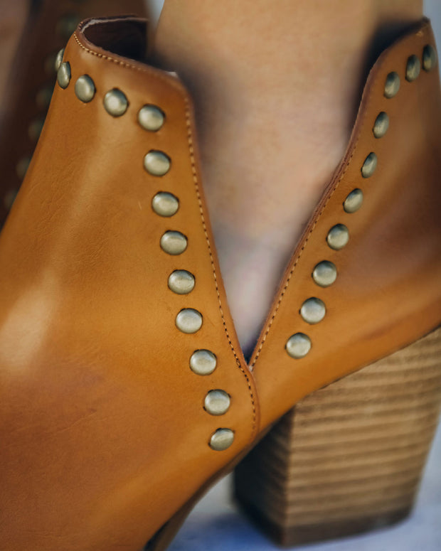 Retro Faux Leather Studded Bootie - Camel view 4