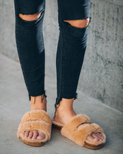 Posy Faux Fur Buckle Slipper - Camel view 8