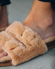 Posy Faux Fur Buckle Slipper - Camel view 4