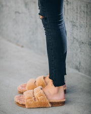 Posy Faux Fur Buckle Slipper - Camel view 2