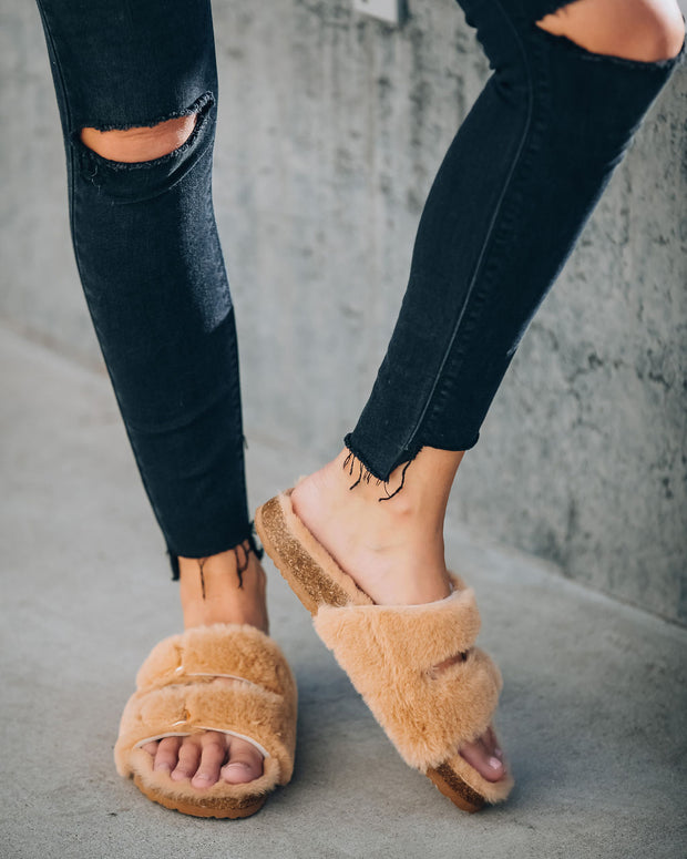 Posy Faux Fur Buckle Slipper - Camel view 11