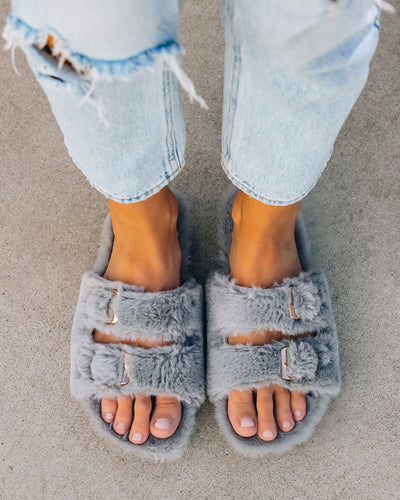 Posy Faux Fur Buckle Slipper - Slate