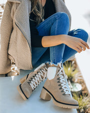 Conquest Heeled Shearling Lace Up Boot - Khaki view 1