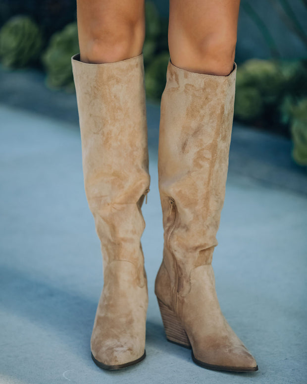 Leanna Faux Suede Heeled Boot - Almond view 7