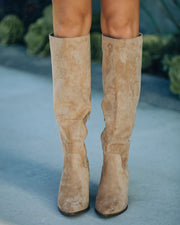 Leanna Faux Suede Heeled Boot - Almond view 3