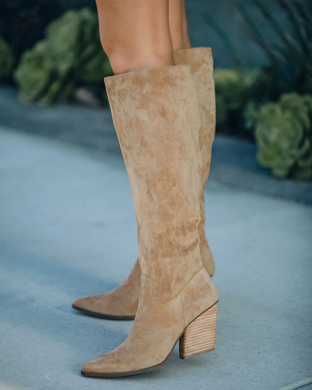 Leanna Faux Suede Heeled Boot - Almond view 1