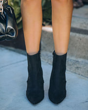 Britt Faux Suede Heeled Bootie - Black view 3