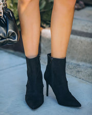 Britt Faux Suede Heeled Bootie - Black view 8