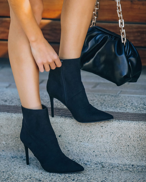 Britt Faux Suede Heeled Bootie - Black view 4