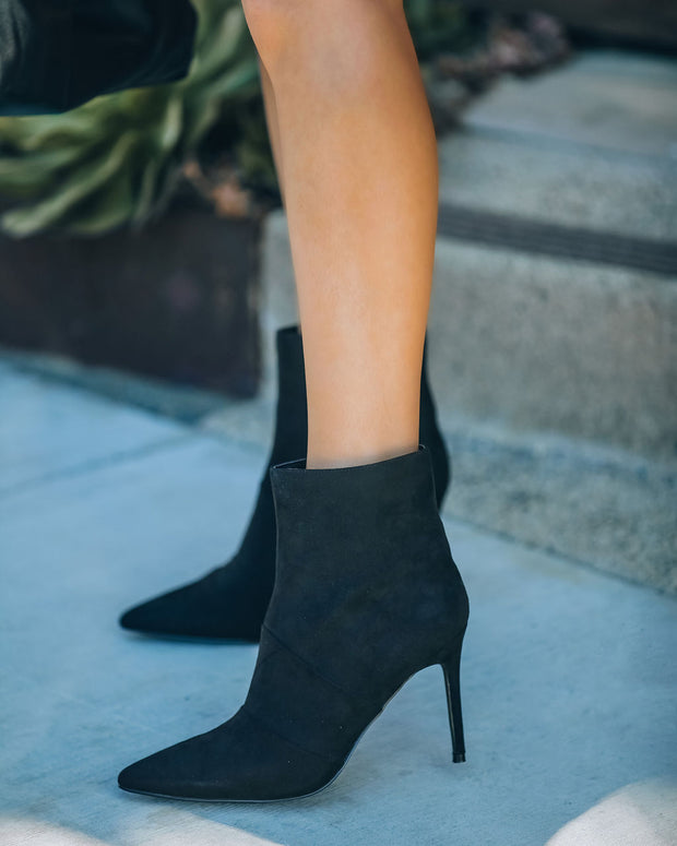 Britt Faux Suede Heeled Bootie - Black view 2
