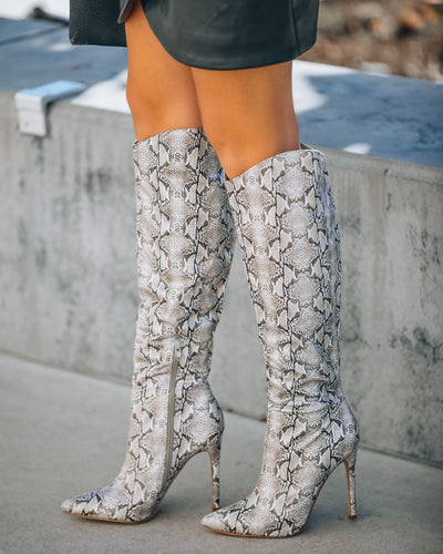 Aspen Heeled Glossy Python Boot - Taupe