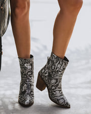 Carter Heeled Snakeskin Bootie - FINAL SALE