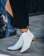 Mazie Faux Leather Chelsea Boot - White