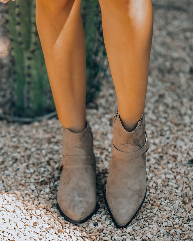 Flynn Faux Suede Western Bootie - Taupe - FINAL SALE