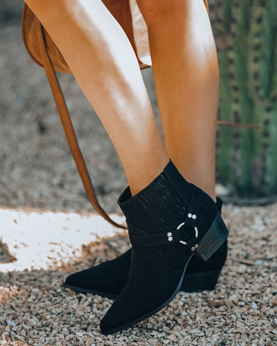 Flynn Faux Suede Western Bootie - Black - FINAL SALE