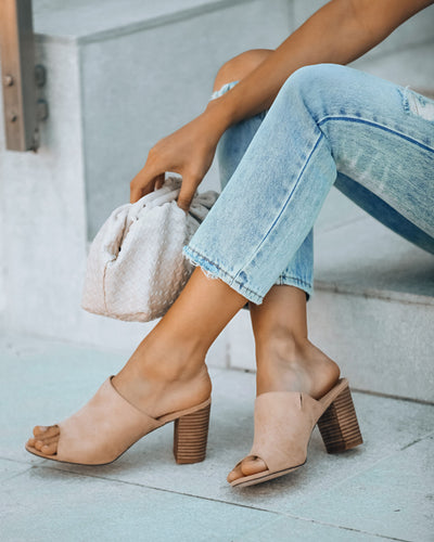 Summer Crush Peep Toe Heeled Mule - Nude