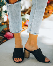 Summer Crush Peep Toe Heeled Mule - Black