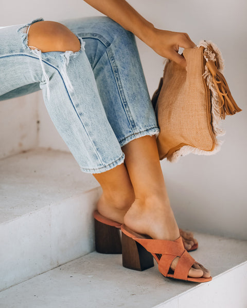 Bryan Criss Cross Heeled Sandal - Ash Coral - FINAL SALE