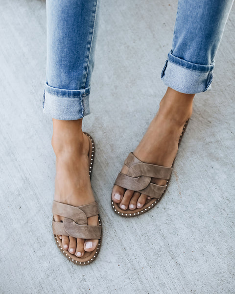 PREORDER - Brianne Twisted Faux Leather Sandal - Taupe