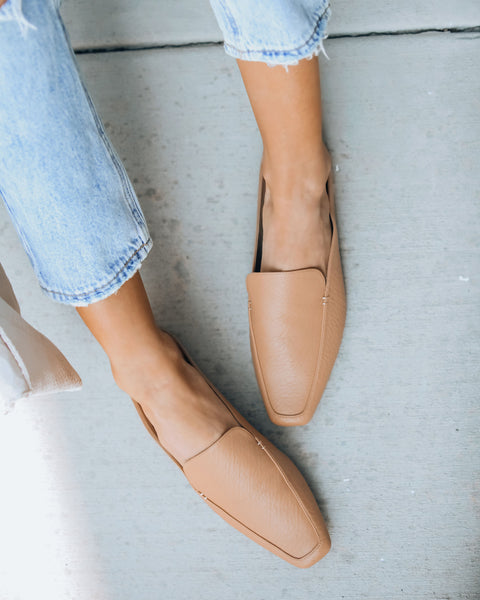 Bisous Square Toe Loafer Mule - Beige