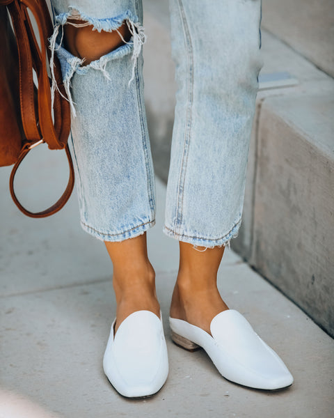 Bisous Square Toe Loafer Mule - White - FINAL SALE