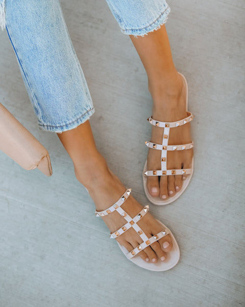 PREORDER - Treasured Gold Studded Sandal - Nude