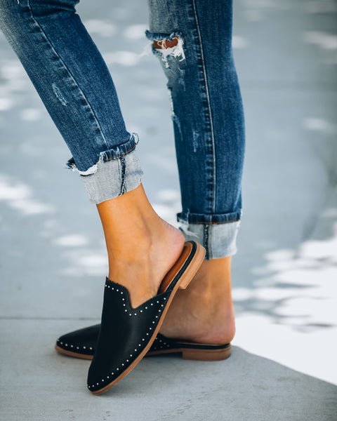 Encore Studded Faux Leather Mule - Black