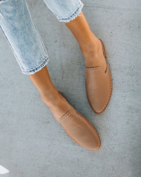 Encore Studded Faux Leather Mule - Latte