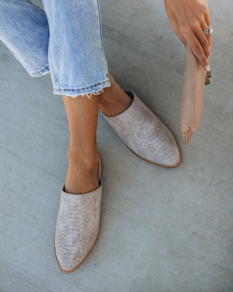 Luxe Embossed Heeled Mule - Taupe - FINAL SALE