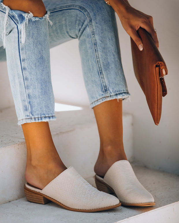 Luxe Embossed Heeled Mule - Off White - FINAL SALE