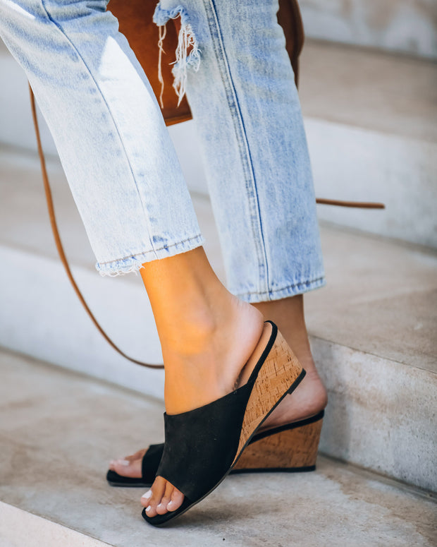 Naomi Faux Suede Square Toe Wedge - Black   - FINAL SALE