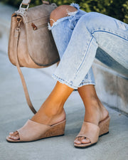 Naomi Faux Suede Square Toe Wedge - Nude  - FINAL SALE