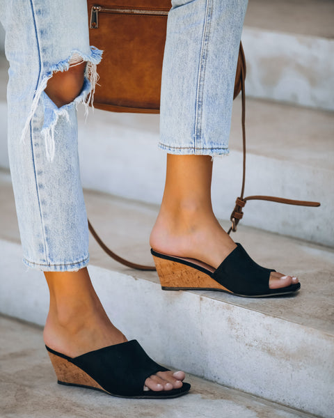 Naomi Faux Suede Square Toe Wedge - Black
