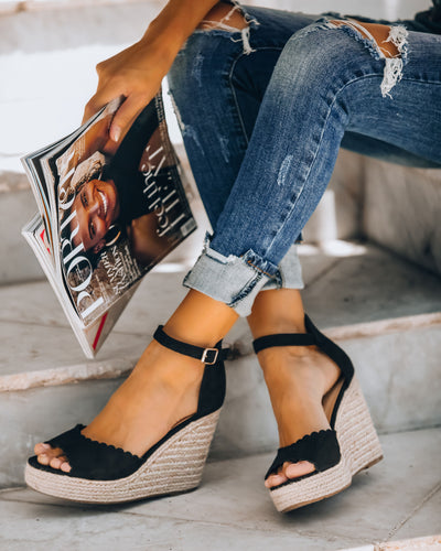Suri Scalloped Espadrille Wedge - Black