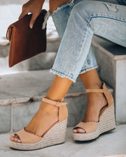 Suri Scalloped Espadrille Wedge - Camel